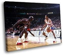 H5D6848 Allen Iverson vs Michael Jordan 76ers NBA Basketball 20x16 FRAMED CANVAS PRINT