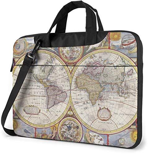 Laptop Shoulder Bag,Old Earth Map Shockproof Laptop Sleeve Cover Business Messenger Bag Briefcase Handbag Case 15.6 inch
