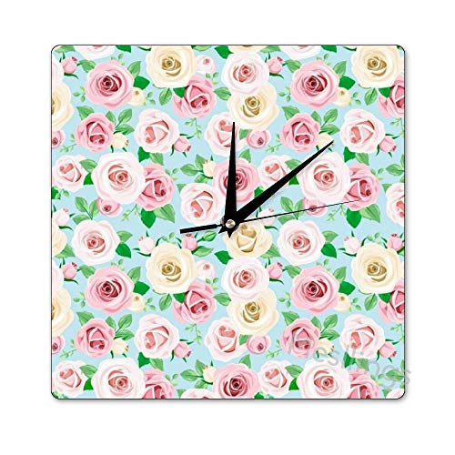 Mesllings Scale-Free Wall Clocks Fresh Spring Style Roses Pattern (1)