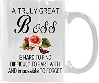 Floral Quotes Mug A Truly Great BOSS is Hard to FIND Difficult to. Coffee Mug Tea Cup Best Gift Idea for Mom/Girlfriend/Her/Friends/Coworkers 11 Ounce Ceramic White