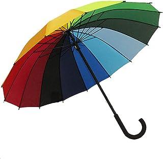 Ever Fairy 高品質レインボー傘 レディース 長傘 16本骨 グラスファイバー 丈夫 傘 軽い 96cm 大きい 晴雨兼用 男女兼用 (多色)