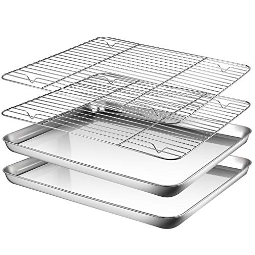 Baking Sheet with Rack Set, AASELM 2 Sets Stainless Steel Cookie Sheet with Cooling Rack, Non Toxic & Healthy, Mirror Finish & Rust Free, Easy Clean & Dishwasher Safe