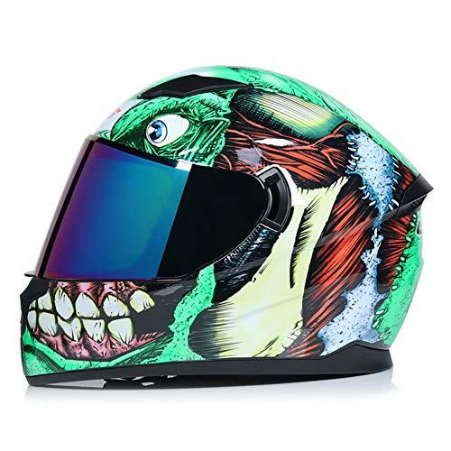 Wwtoukui Casco Moto Creativo Cool Green Monster,Casco Integrale Antiriflesso con Doppia Lente Frontale Antiriflesso,DOT, ECE Standard Is Universal,Lenti Colorate,M57~58cm