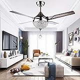 HONGLONG Ventiladores de Techo Modernas del Cristal LED 3 se Convierte en luz con Cuchillas de Acero Inoxidable remota 4 para una habitación/Dormitorio Vivir 44 Pulgadas/Silencio/Decorativos