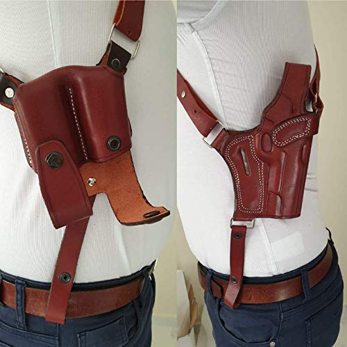 KoHolster Leather Shoulder Holster and Double Mag Pouch for Glock 17-19-26-43/Sig Sauer P226-P229/Colt 1911 5'/Beretta 92-92F-92FS/XDS 3.3'/SW 5906/Jericho 941/Ruger LC9 (Brown, Smith Wesson 5906)