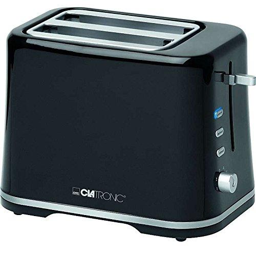 2-Scheiben Toaster in Schwarz mit Brötchenaufsatz und Cool-Touch-Gehäuse Toastgerät Toastautomat (Sparsame 870 Watt, Aufwärm-, Auftau-, Schnellstopp-Funktion)