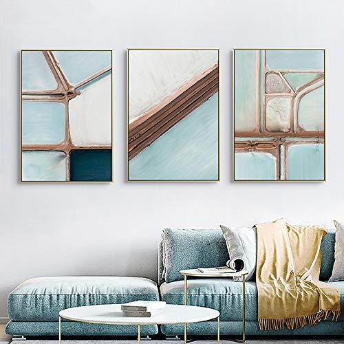 Blue Texture Wall Art Poster e stampe su tela Modern Picture Painting Contemporary Nordic Living Room Decoration 60x90cmx3pcs Senza cornicepcs