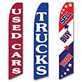 Three Swooper Flag Combo Used Cars Trucks Sell Buy Trade Red Blue White