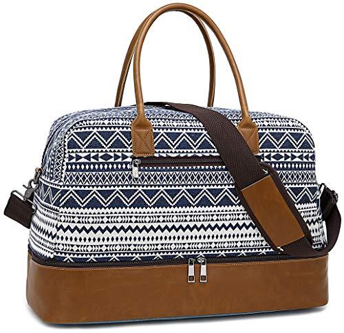 LEDAOU Weekender Damen Reisetasche mit Schuhfach Canvas Handgepäck Sporttasche Frauen Tragetasche Handtasche Blumen 40L