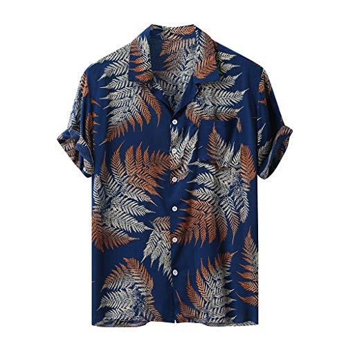 Andouy Hawaii Hemd mit Knopf Herren Sommer Freizeithemd Kurzarm Aloha Beach Hawaiihemd für Männer(L.Marine)