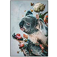 """キャンバス画像かわいいコアラの花のポスターとプリントアートワーク壁アートリビングルーム寝室の家の装飾19.6"""" x 27.5""""(50x70cm)フレームなし"""
