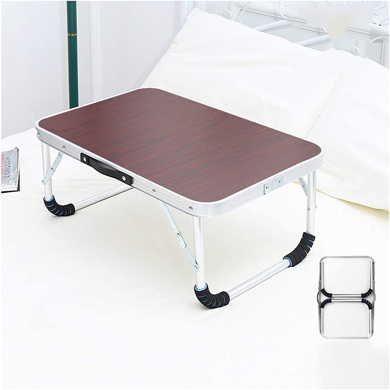 Folding Table Portable Aluminum Folding Table - Bed Laptop Desk Student Dormitory Learning Table (color   Red, Size   60x40x26.5cm)
