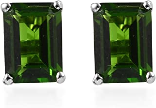 Solitaire Earrings 925 Sterling Silver Platinum Plated Octagon Chrome Diopside Jewelry for Women Gift Ct 1.6