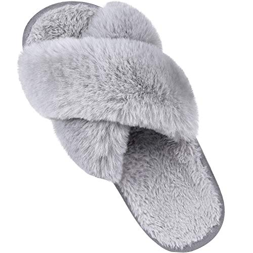 Women's Soft Plush Lightweight House Slippers Non Slip Cross Band Slip on Open Toe Cozy Indoor Outdoor Slippers GY40-41 Grey