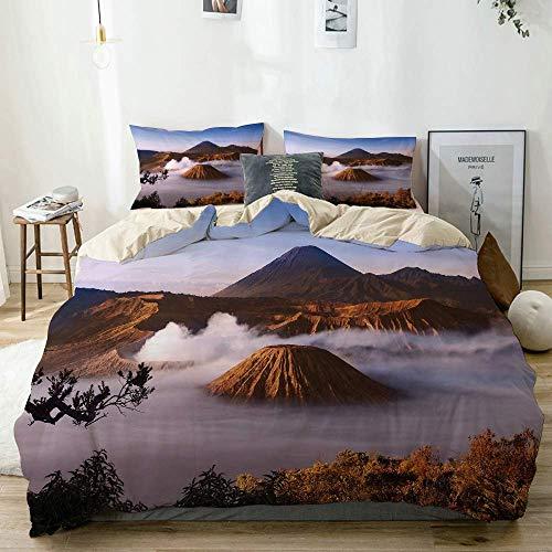 Juego de funda nórdica beige, volcanes del monte Bromo tomados en Tengger Caldera East Java Indonesia, juego de cama decorativo de 3 piezas con 2 fundas de almohada, fácil cuidado, antialérgico, suave