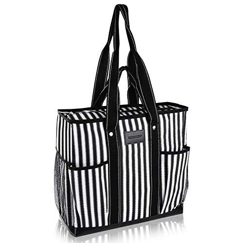DEMOMENT Large Canvas Utility Tote Bag,Work Teacher Nurse Shoulder Women Bag (Vertical stripes)