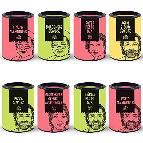 Just Spices 8er Pasta Gewürz Set | Geschenkset in schöner Holzbox | 8 verschiedene Gewürzmischungen für typisch italienische Küche | Geschenk für Männer und Frauen