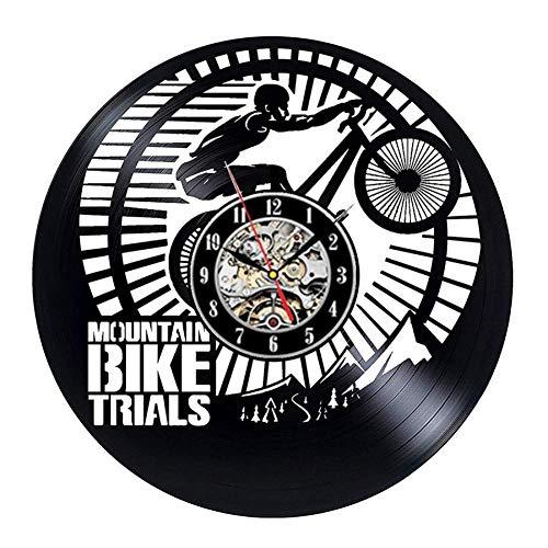 TPFEI Mountainbike Vinyl Wanduhr Modern Radfahren Uhr Vinyl Sport Armbanduhr Home Geschenke Motorrad Geschenke 12-B