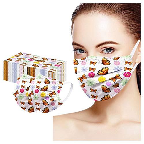 Lomelomme 30/50 Stück Einmal-Mundschutz mit Motiv Kariertes, Waschbar Baumwolle Mund und Nasenschutz Gesichtsabdeckung Atmungsaktive Face Cover Damen Heren