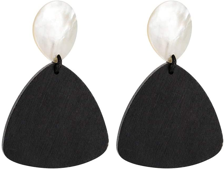 SEAL limited product Ranking TOP8 Rcsinway Ms European and American wooden fema geometric earrings