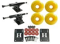 5.0 Black/Black Skateboard Trucks + 52mm Yellow Wheels Combo by Big Boy