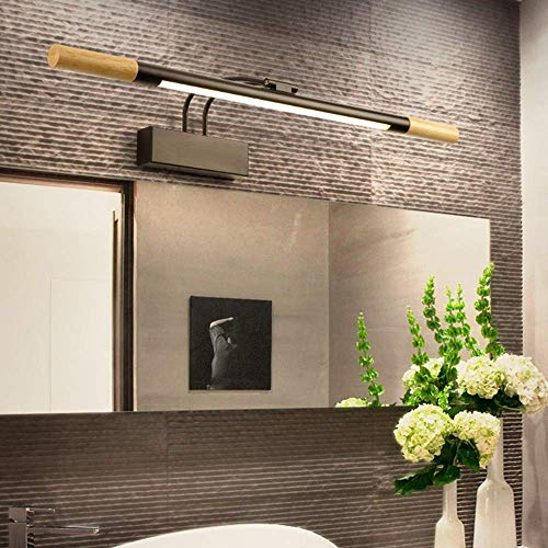 Home Renovation Bath Mirror Lamps Rotative Vanity Lighting Fixtures Strip Bathroom Lights Over Mirror Wall Lamp for Bathroom Dressing Table Makeup 7W Black Simple Modern (Color : Black Size : White
