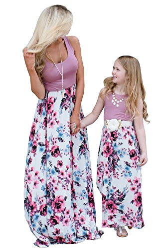 Qin.Orianna Mommy and Me Matching Maxi Dresses,Sleeveless Top Bohemia Floral Printed Matching Outfits with Pockets (Mom 8, Purple) Tag Size S