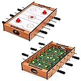 COSTWAY 2 in 1 Spieltisch, Multifunktionsspieltisch aus Holz, Multi-Spieltisch, Air Hockeytisch und Tischkicker, perfekt für Spielzimmer, Bars, Partys, für Erwachsene und Kinder
