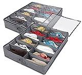 Queta Caja de Almacenamiento de Zapatos, 2 en 1 Contenedor de Almacenaje de Zapatos y Artículos con 12 Bolsillos Organizador Multifunciónal Plegable Debajo la Cama con Funda Transparente