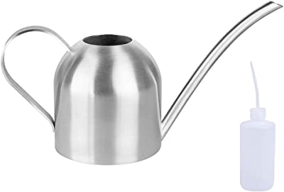 Plant Watering Can 50 oz Stainless Steel Metal Indoor Household Succulent Potted Plants Sprinkling Kettle Semi-Circular Long Mouth Shower Pot with 8 oz Spouted Watering Kettle (50 oz)