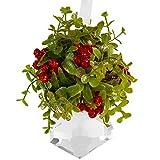 Ornativity Hanging Crystal Mistletoe Ornament - Christmas Kissing Crystal Mistle Toe with Berries Ball Tree Decoration