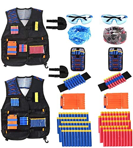 Locisne 2 Kit Chaleco táctico niños Paquetes para Nerf Toy Gun N-Strike Elite Series(con 100 Dardos de Espuma+2 Gafas+2 máscara+2 Clip de Recarga rápida+2 Pulsera+2 dardo Bolsa+2 Funda)