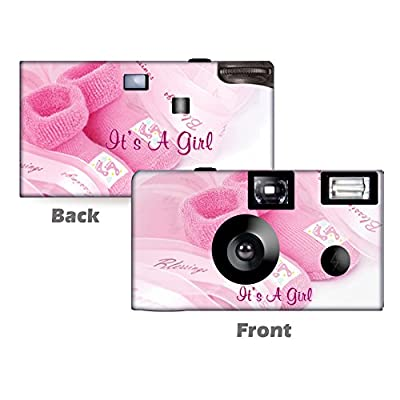 5 Baby Girl Booties Disposable Cameras, Baby Shower, Single use, Flash WM-51094-C by CustomCameraCollection