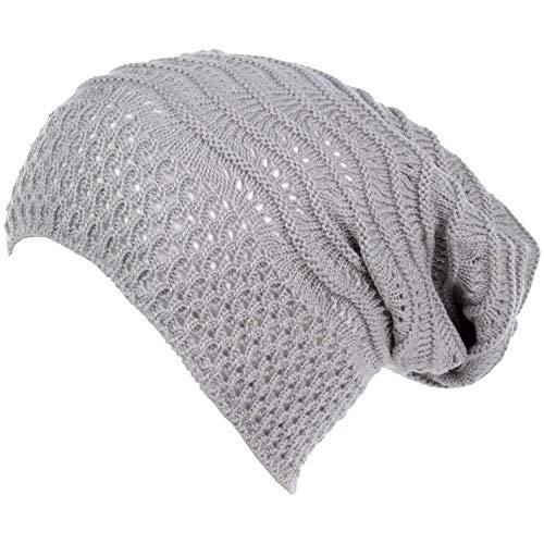 Slouchy Beanie-Mütze für Erwachsene, offenes Gewebe, gehäkelt, leicht, modisch, Baggy Cap - - Einheitsgröße