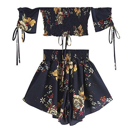 ZAFUL Schulterfreies Cinched Floral Damen-Set mit kurzen Ärmeln Oberteil/Breiten hohe Taille Hosen Blumenmuster gesmokte Shorts Suit Sommer (Blau-L)