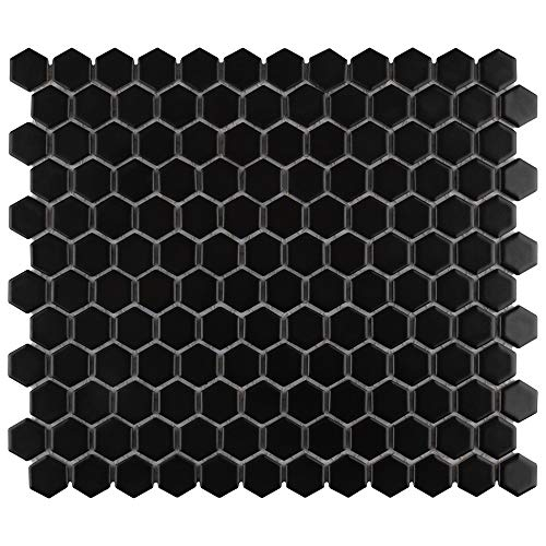 SomerTile FDXMHMB Tile, 10.25' x 11.75', Matte Black, 10 Piece