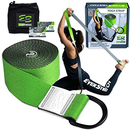 EverStretch Yogagurt für Stretch, Premium-Qualität, 2,4 m Verstellbarer D-Ring Gürtel für Yoga, Pilates, Fitness und Physiotherapie Entworfen