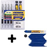 June Gold 4 Premium 2.0 mm 2B Mechanical Pencils, 36 2B Refills, 36 Uniquely Colored Refills, 36 Blue Refills, 2 Smudge Resistant Erasers, Built in Sharpeners & Soft Non-Slip Grip on Each Pencil