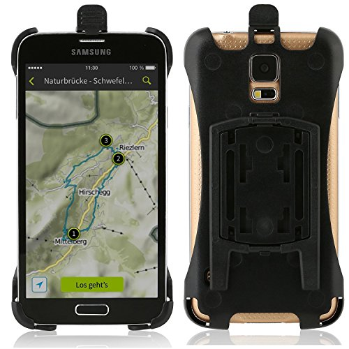 Wicked Chili Halteschale kompatibel mit Samsung Galaxy S5 / S5 Neo für KFZ Scheibenhalterung, KFZ Lüfterhalterung oder Fahrradhalterung (passgenau, Made in Germany) schwarz