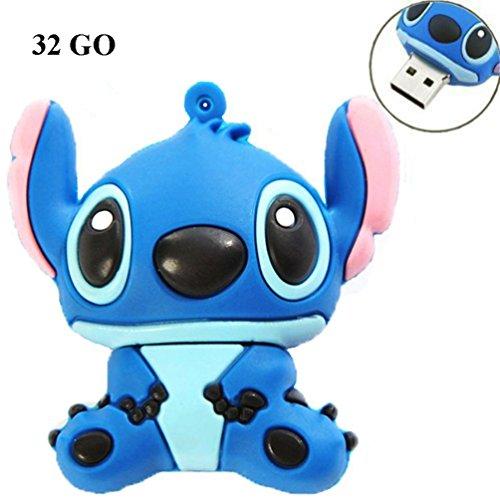SUNWORLD - Chiave USB 2.0 da 16GB o 32GB e USB 3.0 da 16 GB o 32 GB, motivo: Stitch, colore: blu blu blu USB 2.0 32Go