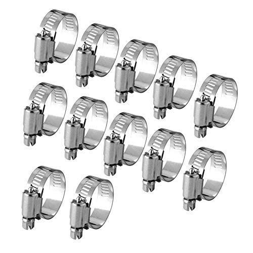JZZJ 12 Pièces Collier de Serrage Tuyau Ajustable en Acier Inoxydable Tuyau Pinces Clips Fixation (9-16 mm)