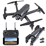 GoolRC GW106 RC Drone with 720P HD Camera, 2.4 Ghz RC Quadcopter, WiFi FPV, APP Control, Altitude Hold, Headless Mode Foldable Drone for Beginner Adult with 2 Battery
