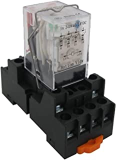 TWTADE / HH54P my4j AC 110V Coil 4PDT 4NO+4NC 14 Pins Electromagnetic Power Relay with Indicator Light add YJF14A Base (Quality Assurance for 2 Years)YJ4N-GS