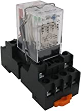 TWTADE / HH54P my4j DC 12V Coil 4PDT 4NO+4NC 14 Pins Electromagnetic Power Relay with Indicator Light add YJF14A Base (Quality Assurance for 2 Years)YJ4N-GS