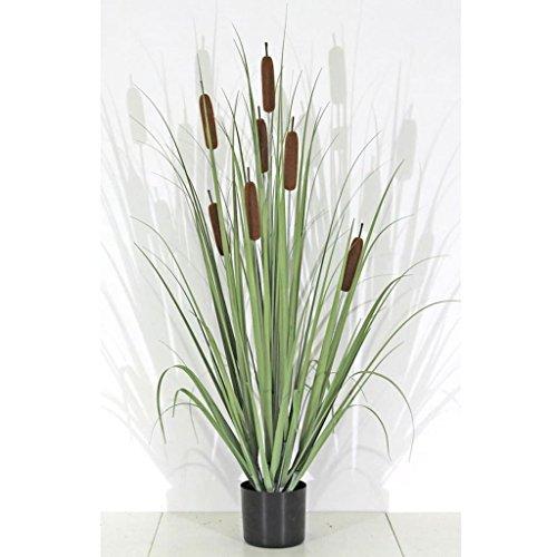 Gräser Cattail im Topf Größe wählbar Kunstgras Schilfrohr Rohrkolben Dekopflanze, Größe:S