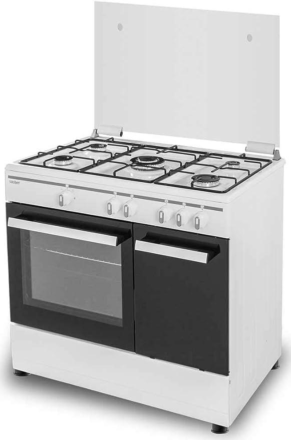 Sauber - COCINA SCI5GB 5 Quemadores - Gas Butano - Porta-bombonas- 90x60 - Tapa Cristal - Color Inox