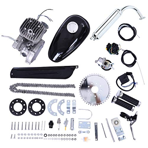 Bike Bicycle Motor Engine Kit, 24' 26' 28' Bike New Convert Bicycle 2 Stroke IE47FA 80cc Petrol Gas Motor Bicycle Motorized Engine Motor Parts & Complete Kit Set Fit For Most Type Bike (Silver)