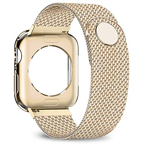 jwacct Compatible for Apple Watch Band with Screen Protector 38mm 40mm 42mm 44mm, Soft TPU Frame Case Cover Bumper Compatible for iwatch Series 1/2/3/4/5 Yellow Gold