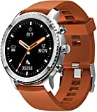 Tinwoo Smart Watch for Android / iOS Phones, Support Wireless Charging ,Bluetooth Health Tracker with Heart Rate Monitor, Digital Smartwatch for Women Men, 5ATM Waterproof (Silver Band Brown)