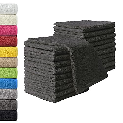 NatureMark 20x, 100% Baumwolle Gästetücher, anthrazit/grau, 20er Pack 30x50cm, 20